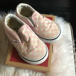VANS Toddler Pink White Checkerboard Slip On